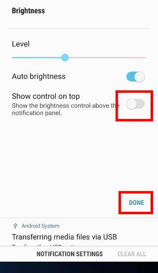 How to show brightness control above notification panel in Android Nougat update for Galaxy S7 and Galaxy S7 edge