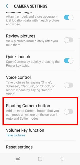 use Galaxy S8 floating camera button in Galaxy S8 and S8+