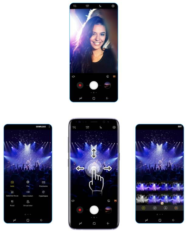 use gestures in Galaxy S8 camera app
