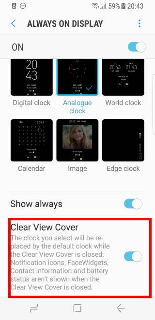 alaxy S8 clear view standing cover work with always-on display (AOD)