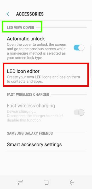 configure and use Galaxy S8 LED wallet cover