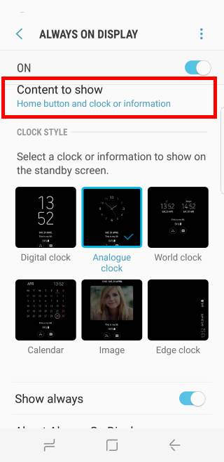 customize Galaxy S8 always-on display (AOD) in Galaxy S8 and S8+