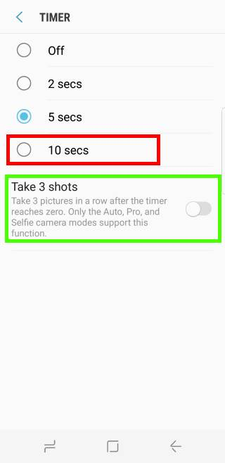 use Galaxy S8 camera timer in Galaxy S8 and S8+