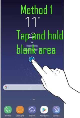 use Galaxy S8 Home screen edit mode: method 1 long tap
