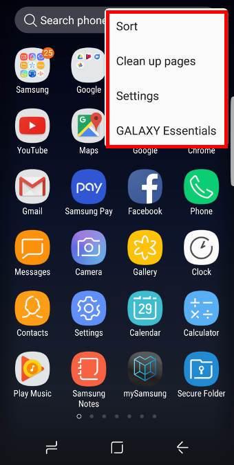 Galaxy S8 apps screen settings