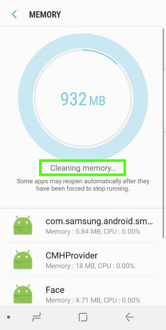 usedevice maintenance to clean up memory in Galaxy S8 and S8+
