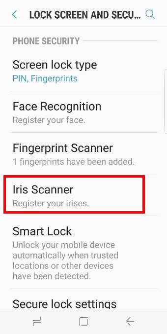 set up Galaxy S8 iris scanner in Galaxy S8 and S8+
