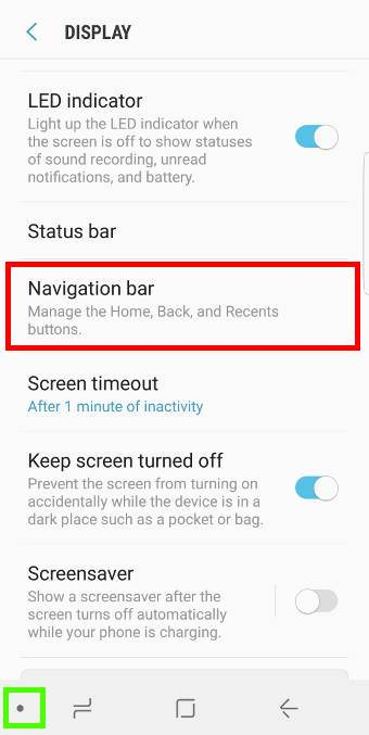 show and hide Galaxy S8 navigation bar