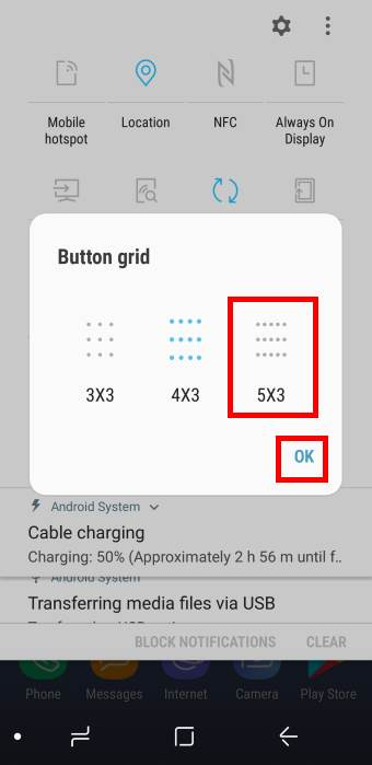use button layout forGalaxy S8 quick settings buttons