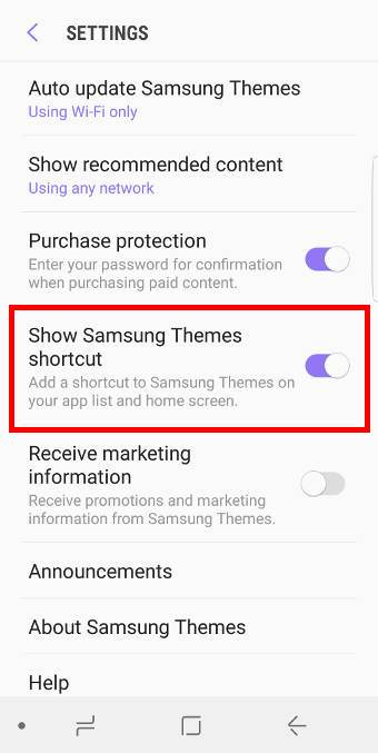 add Galaxy themes shortcut to home screen in Galaxy S8 and S8+