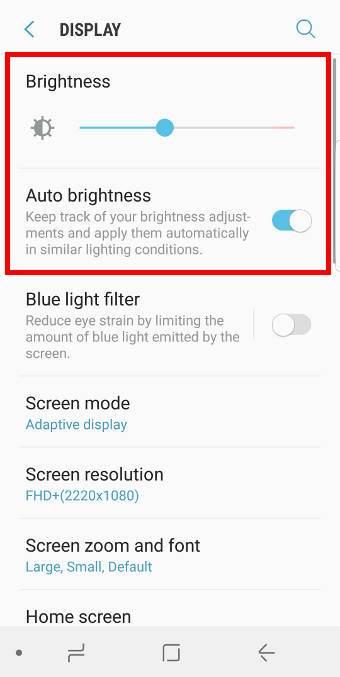 Other ways to change Galaxy S8 brightness control