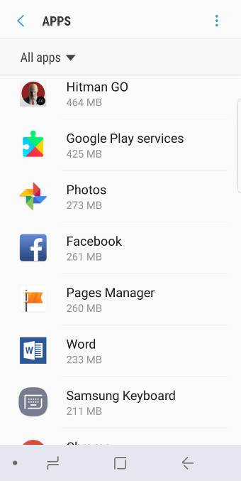 moved apps to SD card in Galaxy S8 and S8+