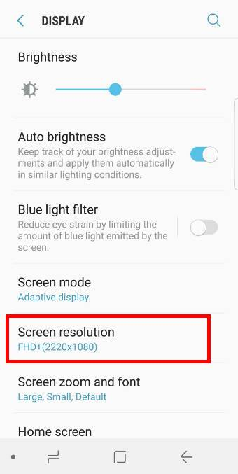 How to change or setscreen resolution in Galaxy S8 and S8+?