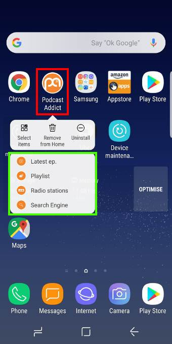 use app shortcuts in Galaxy S8 Home screenin Android Oreo update for Galaxy S8 and S8+