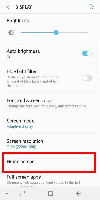 use Galaxy S9 home screen landscape mode