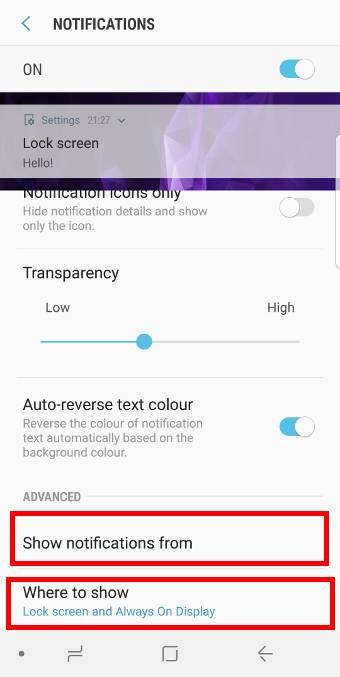 customize notifications in Galaxy S9 lock screen