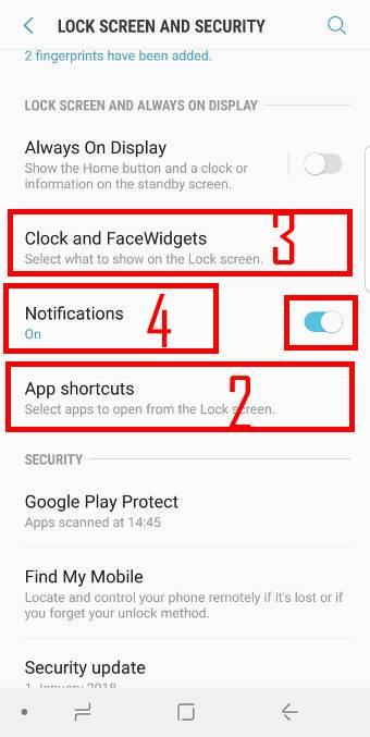 set up Galaxy S9 lock screen security