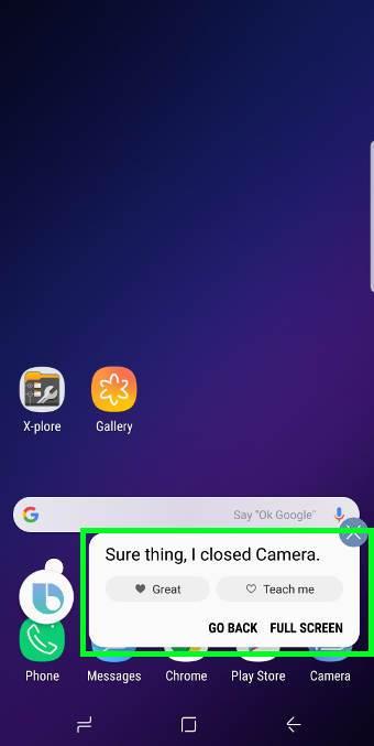 Use Bixby voice command to start Galaxy S9 camera app