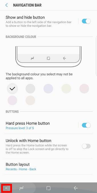 How to hide Galaxy S9 navigation bar? And how to access Galaxy S9 navigation bar when it is hidden?