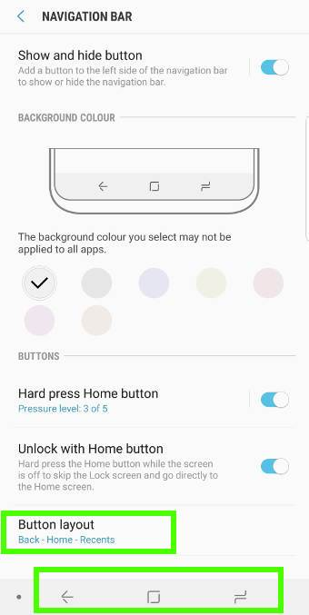 change Galaxy S9 navigation button layout in the navigation bar