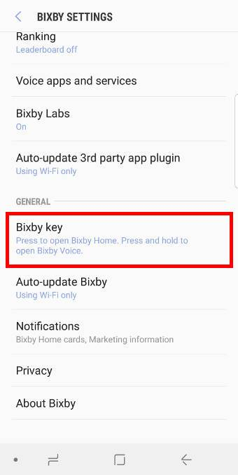 Disable Bixby button press gesture for Bixby Home