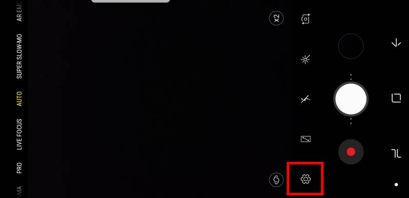 How to access Galaxy S9 camera settings?