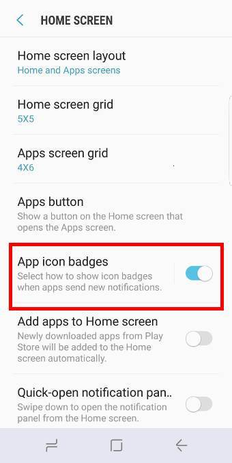 customize Galaxy S9 notification number badge (notification dots)