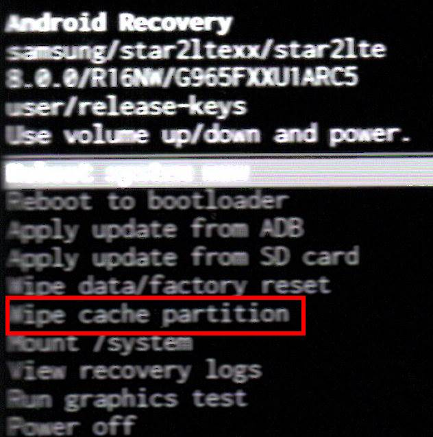 Galaxy S9 recovery mode menu