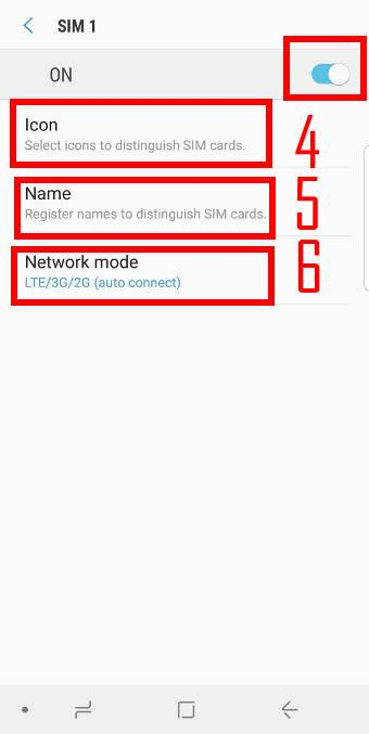 customize SIM card icon, name and network type when usingtwo SIM cards on Galaxy S9 or S9+