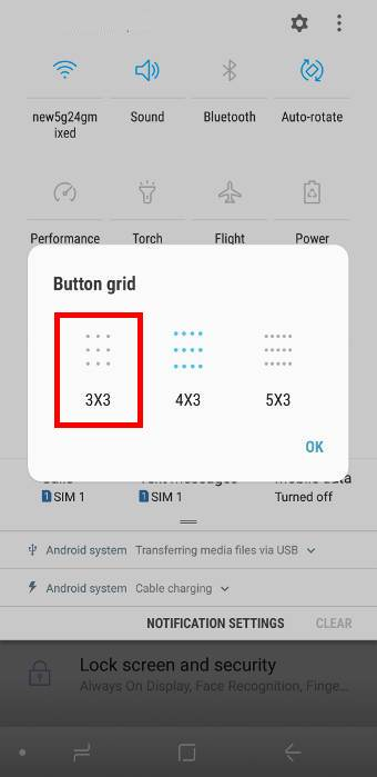 customize the button layout for quick setting buttons on Galaxy S9 and S9+