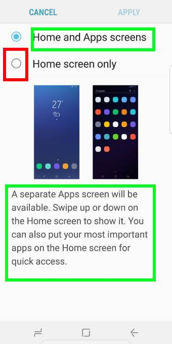 hide galaxy S9 apps screen on Galaxy S9 and S9+