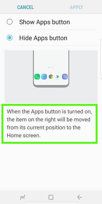 hide Galaxy S9 apps button (apps screen button)