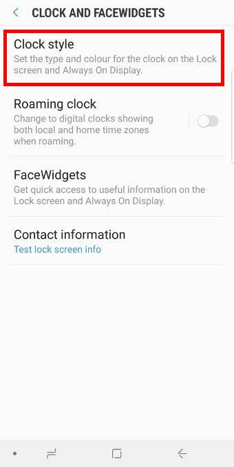 customize clockstyle forGalaxy S9 always-on display (AOD) on Galaxy S9 and S9+