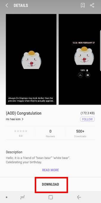 use AOD themes forGalaxy S9 always-on display (AOD) on Galaxy S9 and S9+