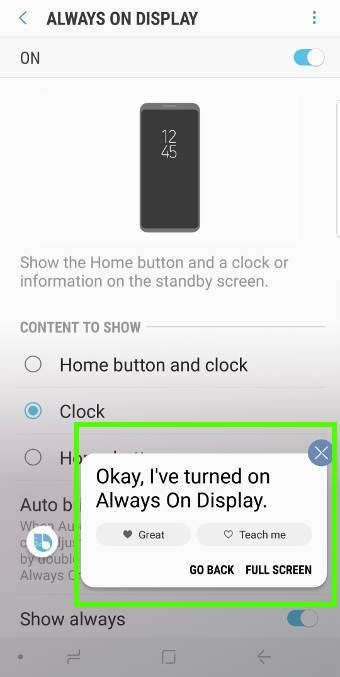 Use Bixby voice to turn on/turn offGalaxy S9 always-on display (AOD) on Galaxy S9 and S9+