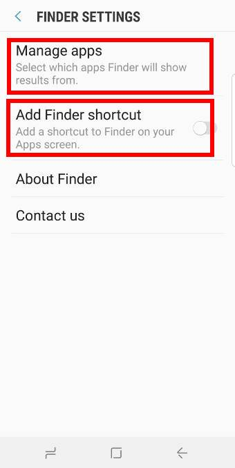 use app finders onGalaxy S9 Apps screen