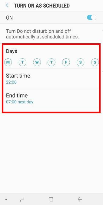 scheduleDo Not Disturb on Galaxy S9 and S9+