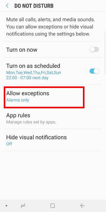 manage exceptions forDo Not Disturb on Galaxy S9 and S9+