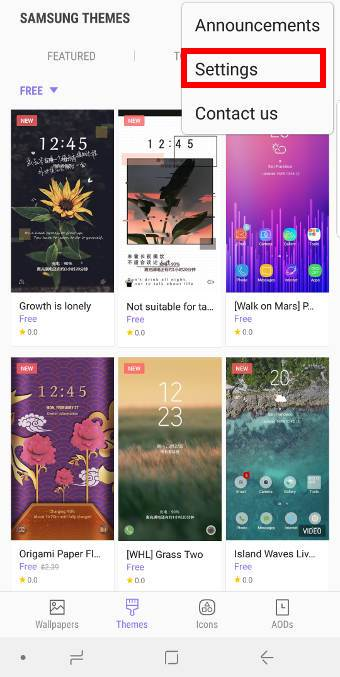add Samsung themes to Galaxy S9 home screen and apps screen