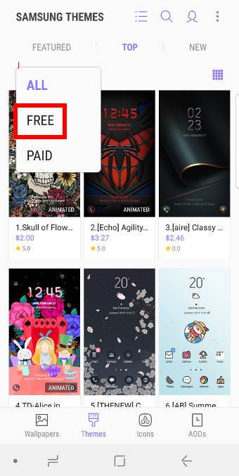 browse and find new Galaxy S9 themes