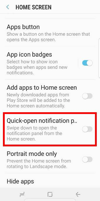 enablequick-open notification panel on Galaxy S9 and S9+