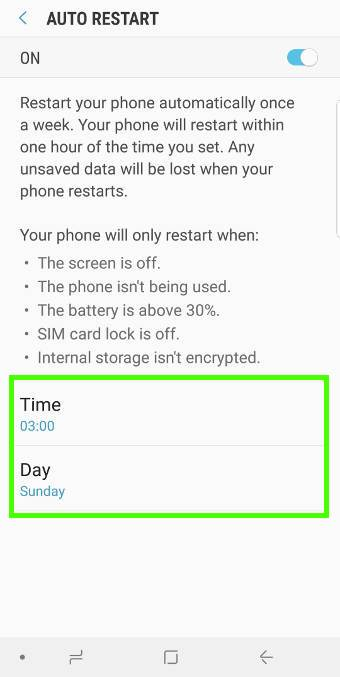 automatically rebootGalaxy S9 or S9+