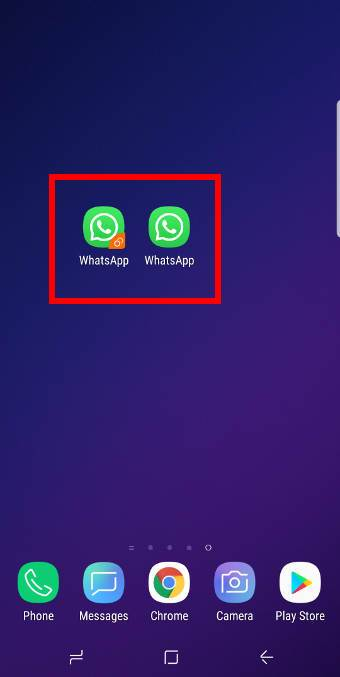 use Galaxy S9 dual messenger to enable two accounts of WhatsApp, Facebook, WeChat, and other apps on Galaxy S9 and S9+