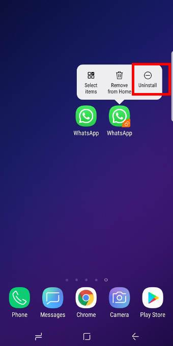 disable Galaxy S9 dual messenger for a specific messenger app to remove the second account on Galaxy S9 and S9+