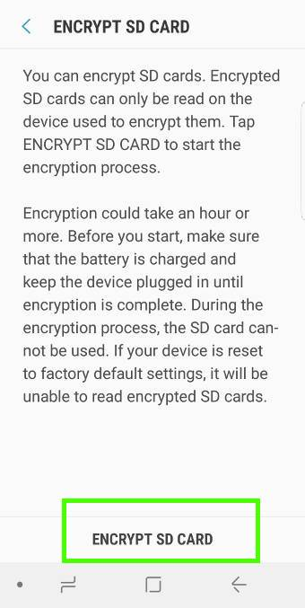 encrypt micro SD card on Galaxy S9 and S9+