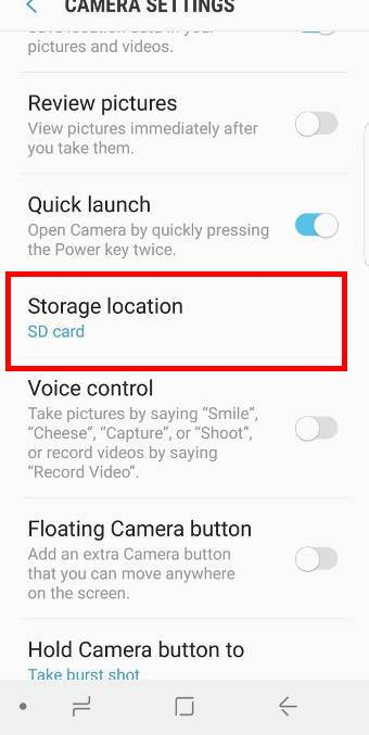 set photo storage location to phone storage or SD card on Galaxy S9 and S9+