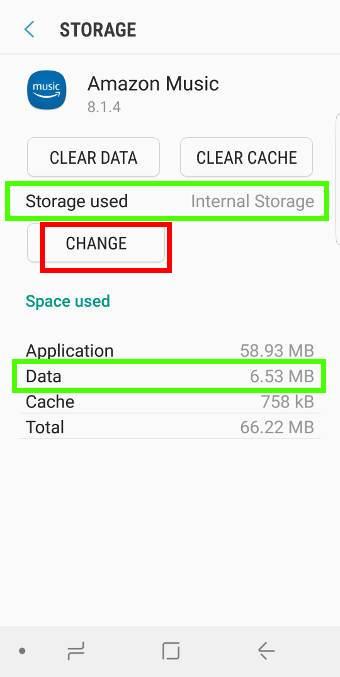 storage usage of an app