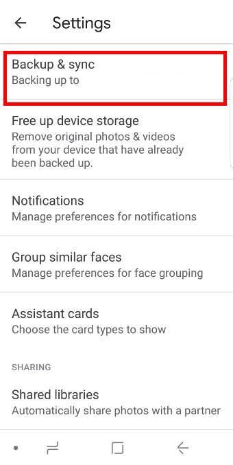 use Google Photos to back up Galaxy S9 photos