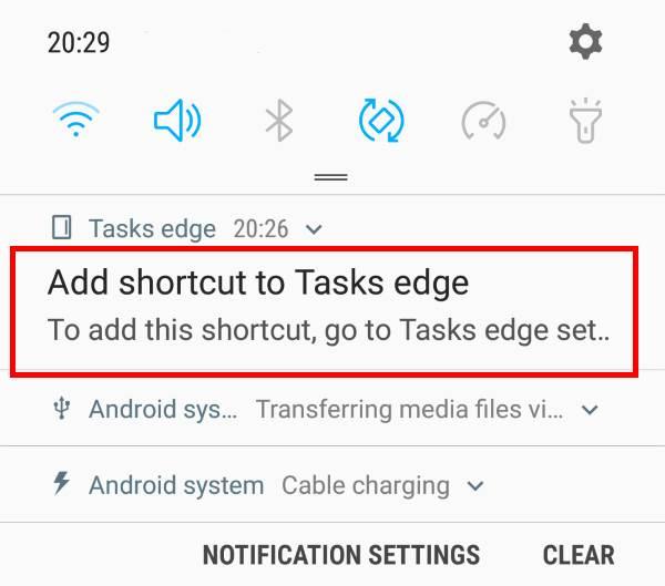 use task edge topin files toGalaxy S9 Home screen