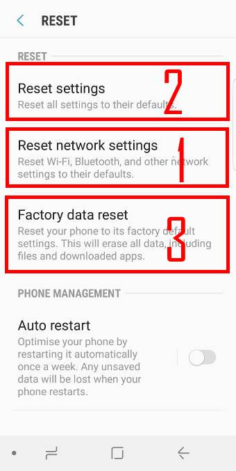 reset Galaxy S9 network settings